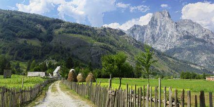 Udsigt op mod de albanske alper. Albaniens højeste bjerg Korab er 2753 meter højt.