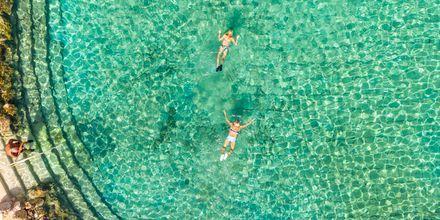 Snorkel muligheder i lagunen ved Hotel Albatros Citadel Resort i Sahl Hasheesh, Egypten.
