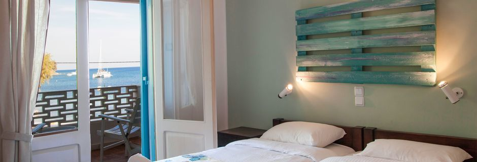 Dobbeltværelse på Hotel Alea Mare på Leros, Grækenland.