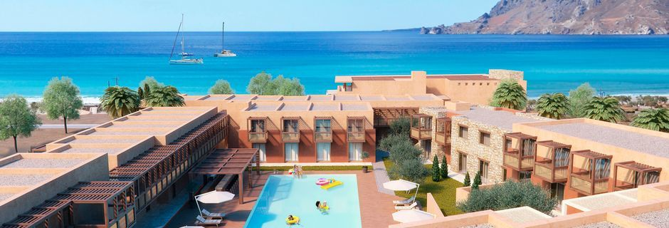 Skitsetegning af poolområdet på hotel Alegria Beach Resort i Plakia, Kreta