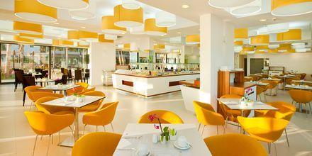 A la carte-restaurant på hotel Alimounda Mare på Karpathos, Grækenland.