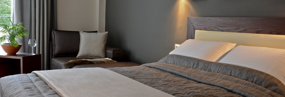 Dobbeltværelse på Hotel Amphitryon på Rhodos, Grækenland.