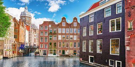 Huse ved kanalen i Amsterdam, Holland.