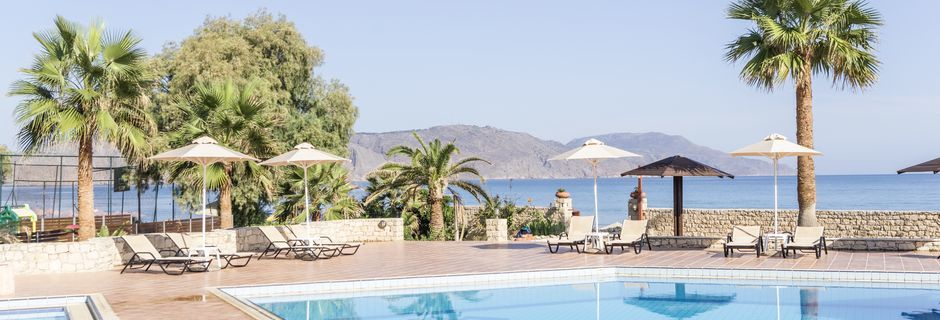 Poolområdet på Hotel Aquamar på Kreta, Grækenland.