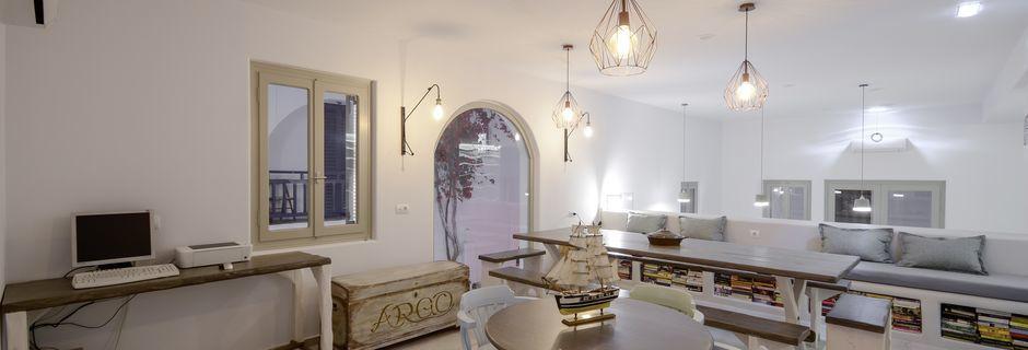 Lobbyen på hotel Argo i Naxos by.