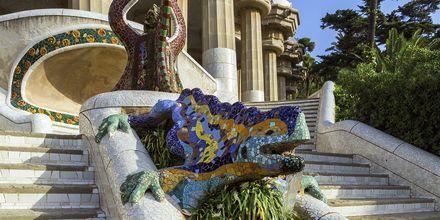 Det berømte mosaik-firben i Parc Güell.