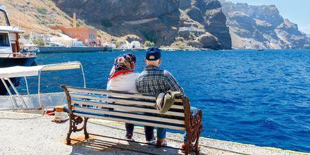 Den gamle havn i Fira på Santorini, Grækenland.