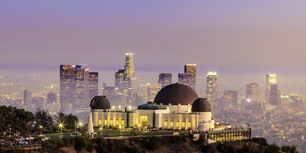 Griffithis Observatory med Los Angeles' skyskrabere i baggrunden.