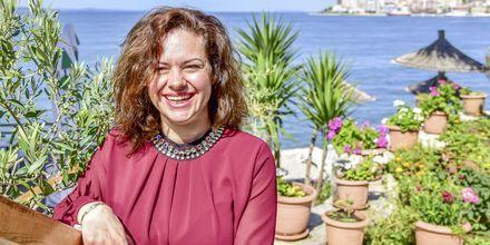 Joanna, hotelmanager på Hotel Delfini i Saranda i Albanien.