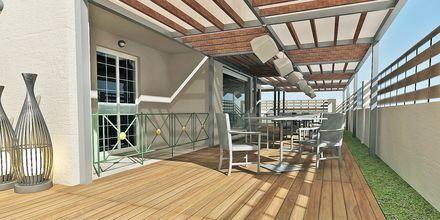 Skitsetegning af poolbar på Hotel Diamanta på Skiathos, Grækenland.