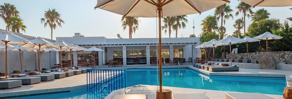 Poolområdet på Hotel Diamond Boutique i Lambi på Kos, Grækenland.