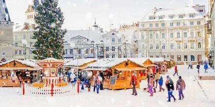 Julemarked på Rådhustorvet i Tallinn, Estland.