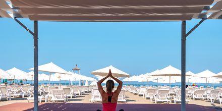 Yoga på Hotel Fafa Grand Blue i Durres Riviera i Albanien.