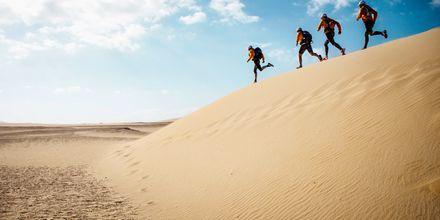 Løb i sanddynerne på Fuerteventura.