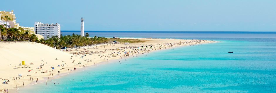 Stranden Morro Jable på Fuerteventura.
