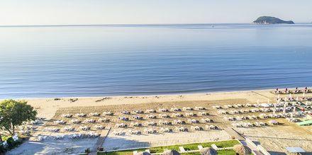 Stranden ved Hotel Galaxy Beach Resort i Laganas, Zakynthos.