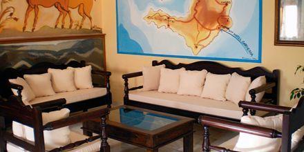 Lobby på hotel Gardenia på Santorini, Grækenland.