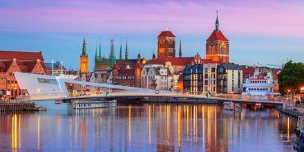 Bro over floden Motlawa i Gdansk, Polen