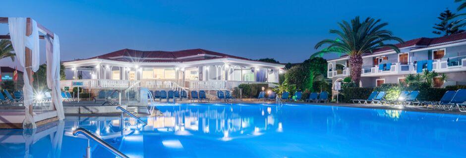 Poolområde ved Golden Sun i Kalamaki på Zakynthos, Grækenland.