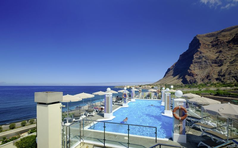 Poolområde på Hotel Gran Rey på La Gomera, De Kanariske Øer, Spanien.