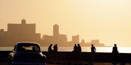 Strandpromenaden El Malecón i Havanna på Cuba.