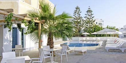Snackbar på hotel Iris i Kamari, Santorini.