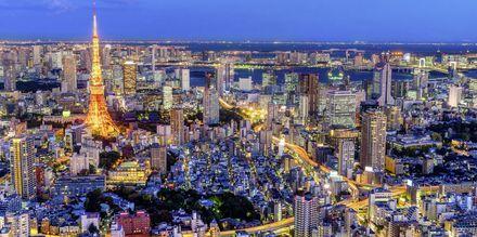 Tokyo i Japan om aftenen.
