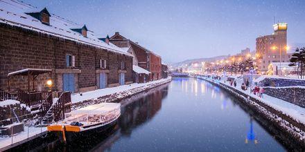 Kanalen Otaru i Hokkaido, det nordlige Japan. Her er vinteren lang og kold.