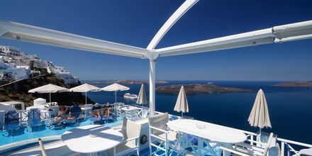 Restauranten på Hotel Kafieris Blue på Santorini, Grækenland.