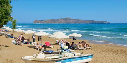 Stranden ved hotel Kato Stalos Mare på Kreta, Grækenland.