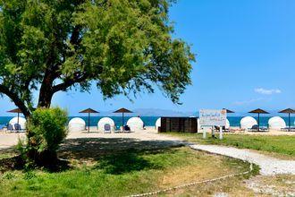 Stranden ved Hotel Kipriotis Maris Suites på Kos, Grækenland.