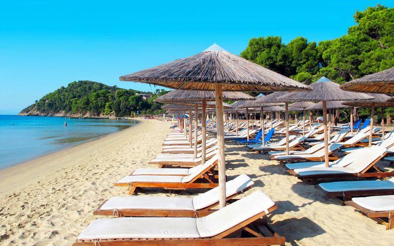 Koukonaries-stranden på Skiathos i Grækenland.