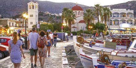 Havnepromenaden i Elounda på Kreta.