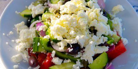 lækker græsk mad i Lambi på Kos, Grækenland.