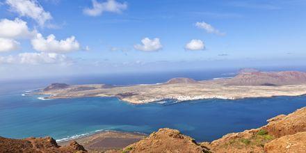 Udsigt over øen La Graciosa Lanzarote, De Kanariske Øer, Spanien.