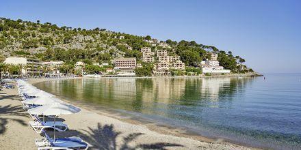 Stranden ved Hotel Los Geranios i Puerto de Sóller, Mallorca.