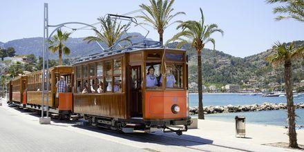 Sporvognen går fra Palma til Sóller og passerer gennem bjerglandskab og citruslunde.
