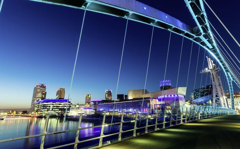 Salford Quays i Manchester, England.