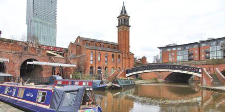 Kanalen i Castlefield, Manchester i England.