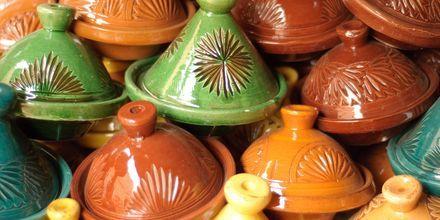 Tajines der anvendes til marokkansk madlavning.