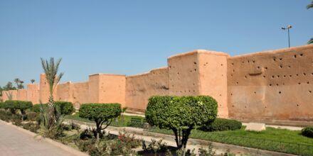Den gamle bymur i Marrakech, Marokko.