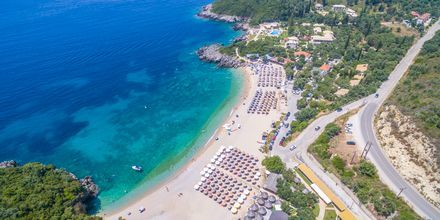 Stranden ved Hotel Mega Ammos, Sivota i Grækenland.