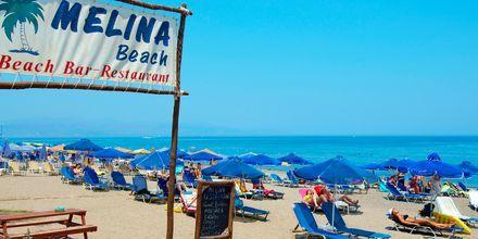 Hotelstranden på hotel Melina Beach på Kreta, Grækenland