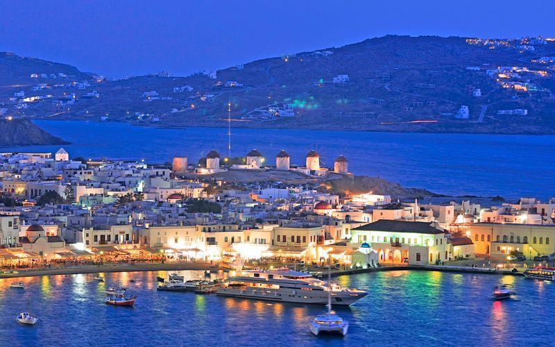 Den gamle havn i Mykonos by, Grækenland.