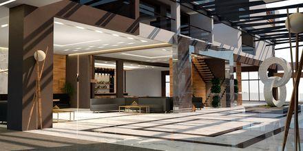 Skitse billede af receptionen på Hotel Myrion Beach Resort i Gerani på Kreta, Grækenland.