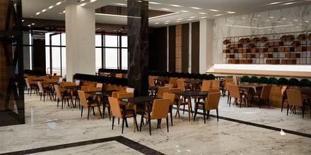 Skitse billede af restauranten på Hotel Myrion Beach Resort i Gerani på Kreta, Grækenland.