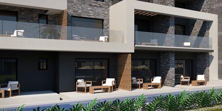 Skitse billede af delt pool på Hotel Myrion Beach Resort i Gerani på Kreta, Grækenland.