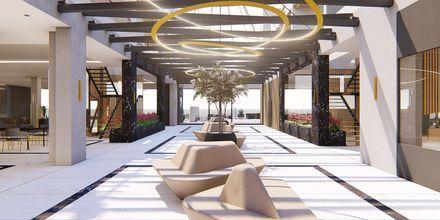 Skitse billede af lobbyen på Hotel Myrion Beach Resort i Gerani på Kreta, Grækenland.