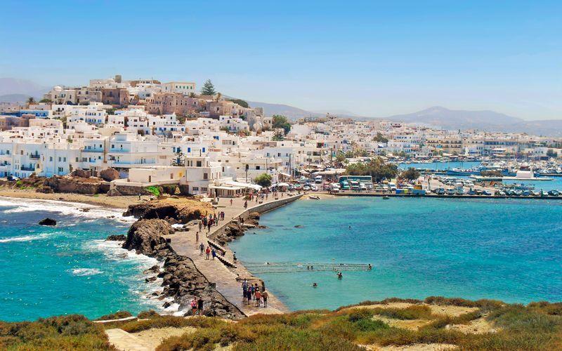 Smuk udsigt fra Naxos by, Naxos, Grækenland.