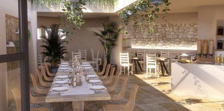 Restaurant på hotel Parasol i Karpathos By, Grækenland.